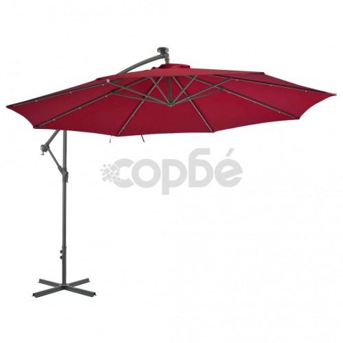 Градински чадър с чупещо рамо и алуминиев прът, 350 см, бордо