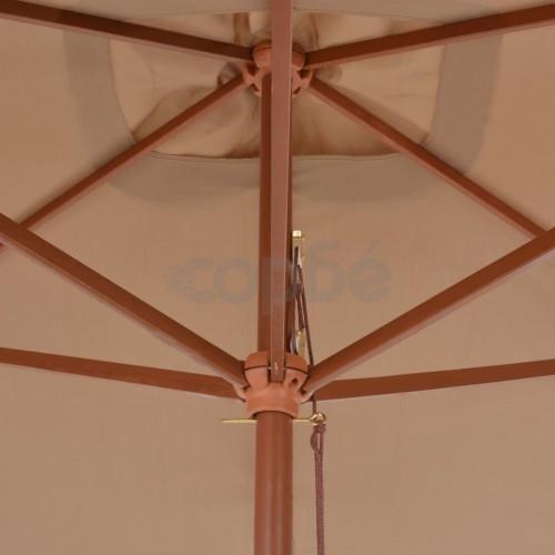 Градински чадър с дървен прът, 200x300 см, таупе