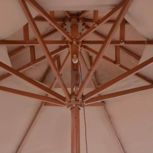 Чадър с двоен покрив и дървен прът, 270 см, таупе