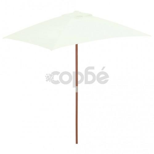 Градински чадър с дървен прът, 150x200 см, пясъчен