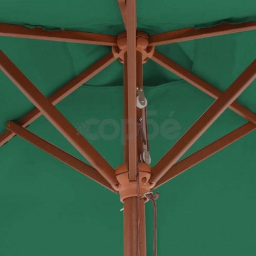 Градински чадър с дървен прът, 150x200 см, зелен