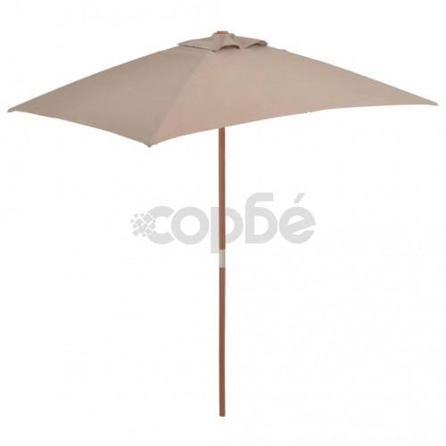 Градински чадър с дървен прът, 150x200 см, таупе