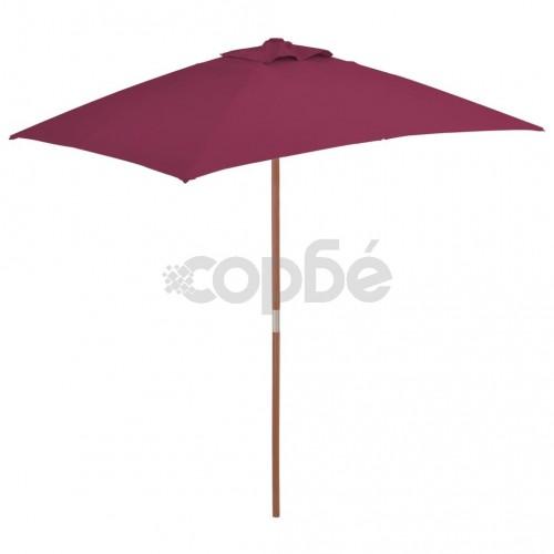 Градински чадър с дървен прът, 150x200 см, бордо червено