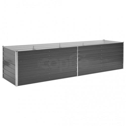Градинска висока леха поцинкована стомана 320x80x77 см сива