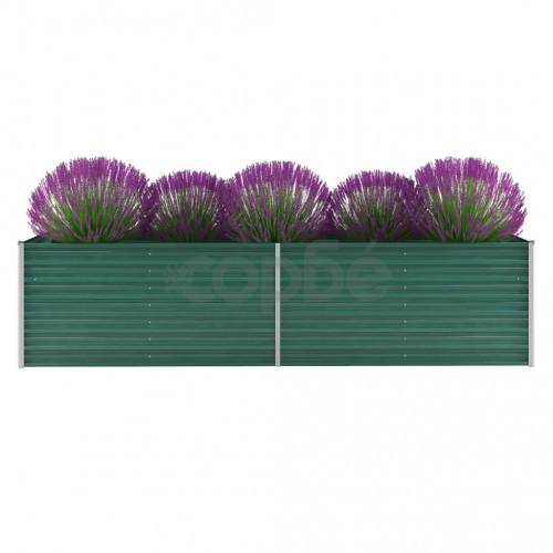 Градински плантер, поцинкована стомана, 320x80x77 см, зелен