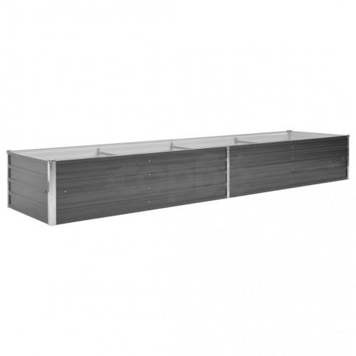 Градински плантер, поцинкована стомана, 320x80x45 см, сив