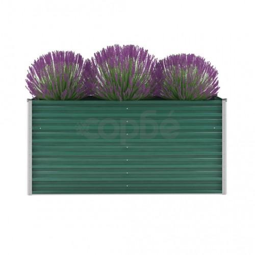 Градински плантер, поцинкована стомана, 160x40x77 см, зелен