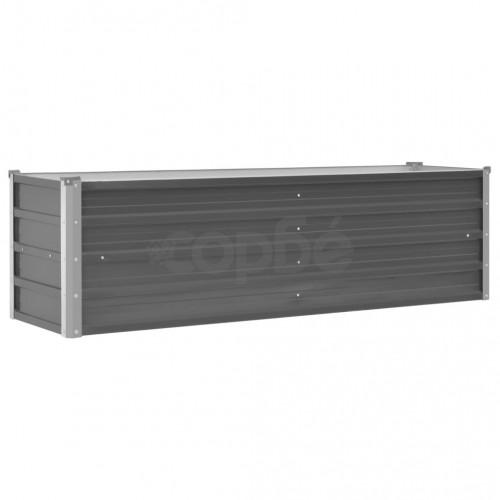 Градински плантер, поцинкована стомана, 160x40x45 см, сив