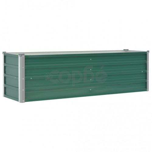 Градинска висока леха поцинкована стомана 160x40x45 см зелена