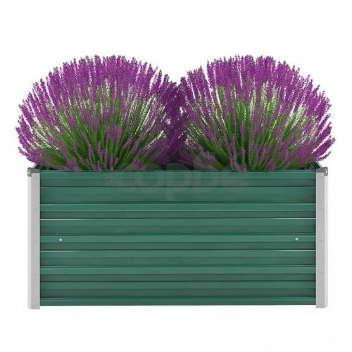 Градински плантер, поцинкована стомана, 100x40x45 см, зелен