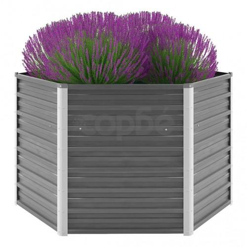 Градински плантер, поцинкована стомана, 129x129x77 см, сив
