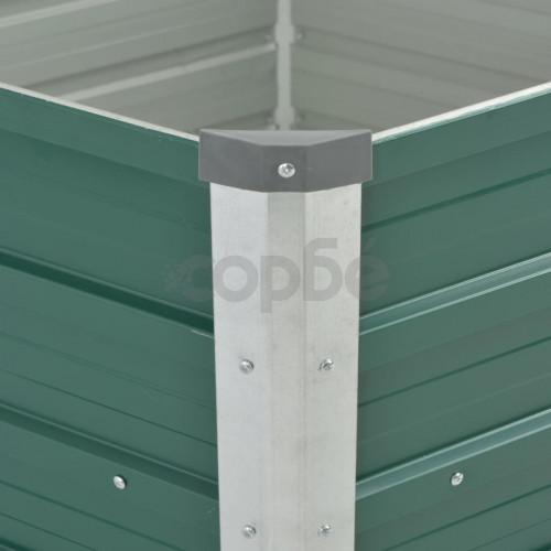 Градинска висока леха поцинкована стомана 129x129x77 см зелена