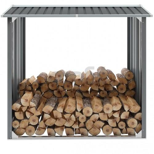 Навес за дърва, поцинкована стомана, 172x91x154 см, сив