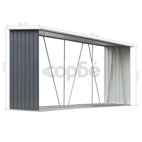 Навес за дърва, поцинкована стомана, 330x84x152 см, сив