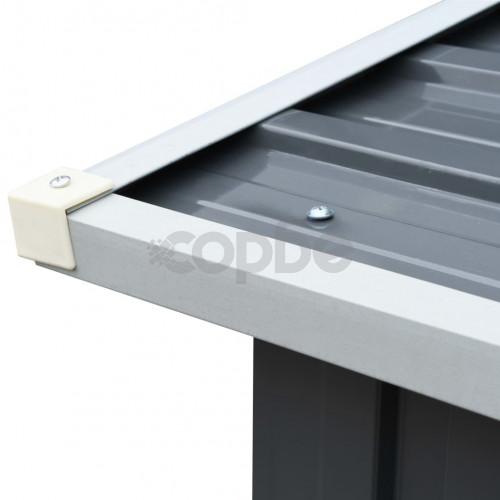 Навес за дърва, поцинкована стомана, 330x92x153 см, сив