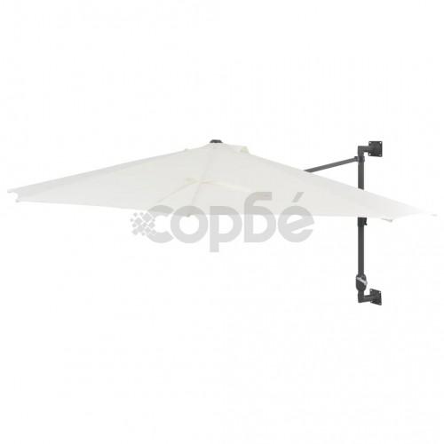 Чадър за монтаж на стена с метален прът, 300 см, пясъчен
