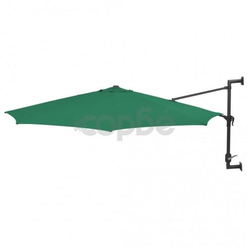 Чадър за монтаж на стена с метален прът, 300 см, зелен