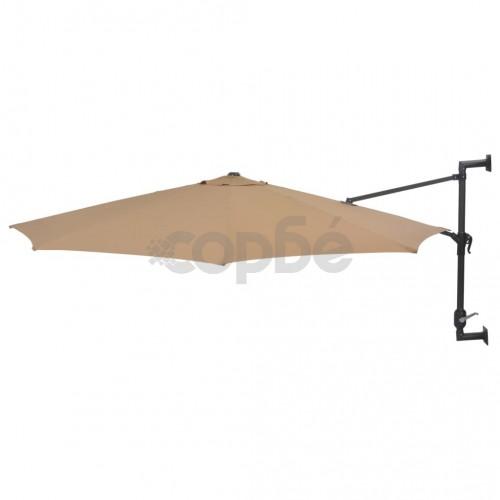 Чадър за монтаж на стена с метален прът, 300 см, таупе