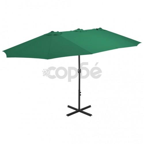Градински чадър с алуминиев прът, 460x270 см, зелен