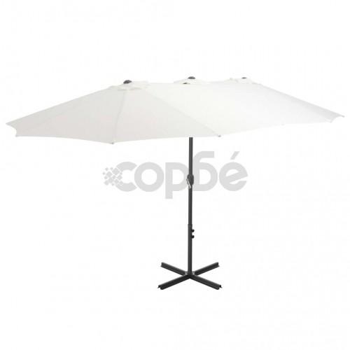 Градински чадър с алуминиев прът, 460x270 см, пясъчен
