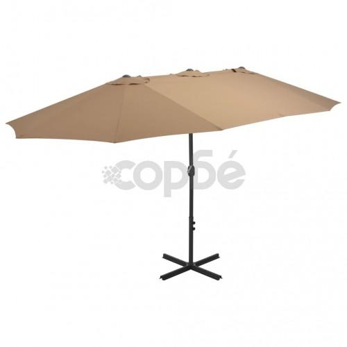 Градински чадър с алуминиев прът, 460x270 см, таупе