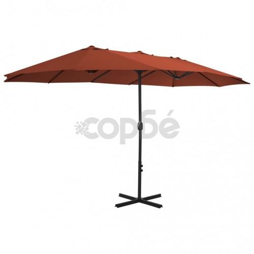 Градински чадър с алуминиев прът, 460x270 см, керемиден