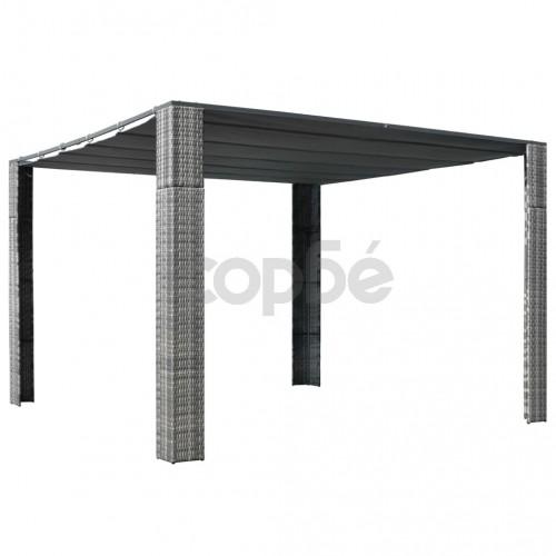 Шатра с покрив, полиратан, 300x300x200 см, сиво и антрацит