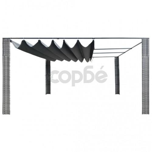 Шатра с подвижен покрив полиратан 400x400x200 см сива антрацит