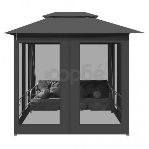Градинска люлка със сенник, антрацит, 220x160x240 см, стомана