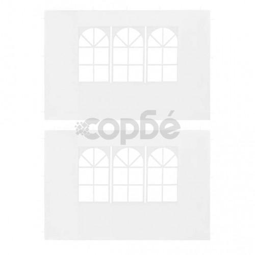 Странични стени за парти шатра, 2 бр, с прозорци, PE, бели