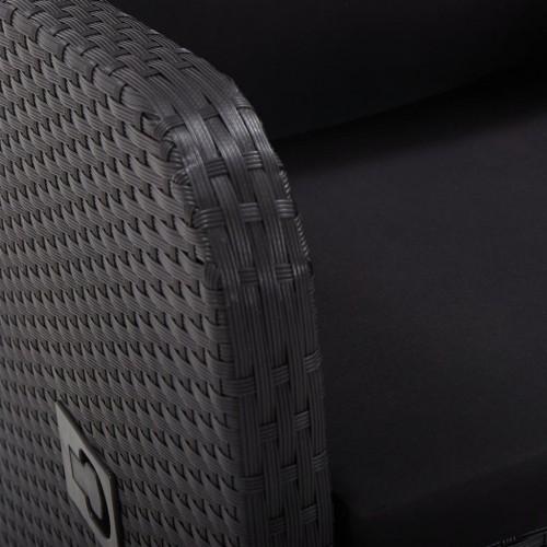 Бистро комплект, 3 части, с възглавници, полиратан, черен