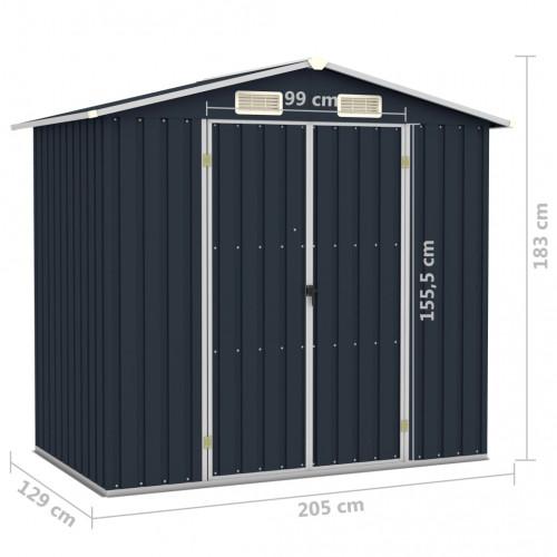 Градинска барака, антрацит, 205x129x183 см, поцинкована стомана