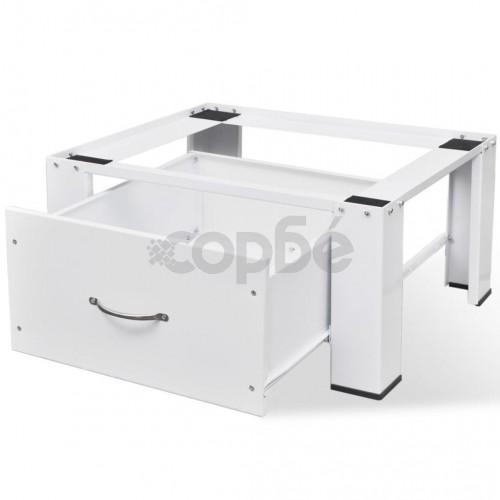 Стойка за перална машина с чекмедже, бяла