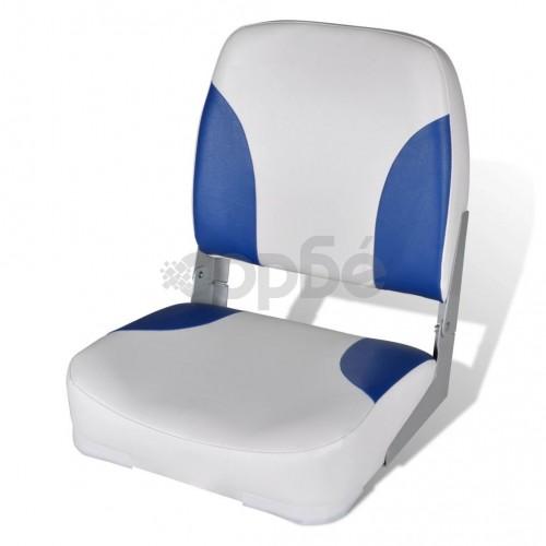 Седалка за лодка с облегалка и синьобяла възглавница 41 х 36 х 48 см