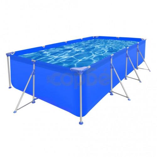 Правоъгълен плувен басейн със стоманена рамка, 394 x 207 x 80 см